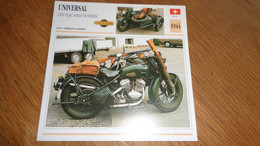 UNIVERSAL 1000 Type Armée Side Car  Suisse Switzerland Moto Fiche Descriptive Motocyclette Motos Motorcycle Motocyclette - Sin Clasificación