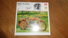 QUICK Paul Speidel 750 MV 1917 Suisse Switzerland Moto Fiche Descriptive Motocyclette Motos Motorcycle Motocyclette - Sin Clasificación