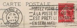 Semeuse N°194 De Roulette Sur Carte De La Samaritaine, état Voir Scan, 1926. - 1921-1960: Modern Tijdperk