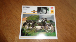 UNIVERSAL 250 Junior 1959 Suisse Switzerland Moto Fiche Descriptive Motocyclette Motos Motorcycle Motocyclette - Sin Clasificación