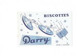 BUVARD - BISCOTTES DARRY - Publicité - Soucoupe Volante Fillette Garçon Ovni - Zwieback