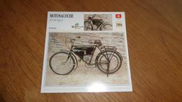 MOTOSACOCHE 215 Cm3 Type A 1904 Suisse Switzerland Moto Fiche Descriptive Motocyclette Motos Motorcycle Motocyclette - Sin Clasificación