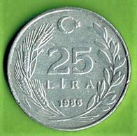 TURQUIE / 25 LIRA / 1986 / ALU - Turkey