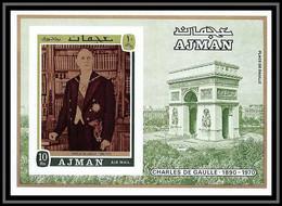 Ajman - 2513a/ Bloc N° 321 B De Gaulle Non Dentelé Imperf ** MNH Arc De Triomphe Paris - Ajman