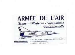 BUVARD - Publicité ARMEE DE L'AIR - F.A. TAC 1re R.A. PLACE WILSON Dijon Côte D'Or 21 - Avion - Transport