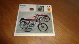 MONDIAL 50 Record 1966  Italie Italia Moto Fiche Descriptive Motocyclette Motos Motorcycle Motocyclette - Sin Clasificación