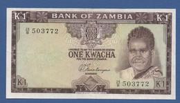 ZAMBIA - P.10b– 1 KWACHA ND (1969) - F/VF - Serie 26/B 503772 - Zambia