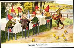 CPA Glückwunsch Ostern, Zwerge Mit Ostereiern, Küken, Osterhase - Pâques