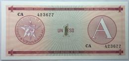 Billete Cuba. 1985. 1 Peso. Serie A. Certificado De Divisa. Banco Nacional De Cuba. SC. Sin Circular. Correlativos - Cuba