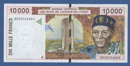 WEST AFRICAN STATES - Côte D'Ivoire / Ivory Coast - P.114Ah – 10.000 FRANCS 1999 - XF/AU Serie 9930764069 - West African States