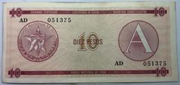 Billete Cuba. 1985. 10 Pesos. Serie A. Certificado De Divisa. Banco Nacional De Cuba. MBC. Castillo Nuestra Señora - Cuba