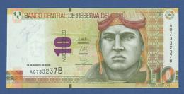 PERÚ - P.182 – 10 Nuevos Soles 13.08.2009 UNC Serie A0733237B - Peru