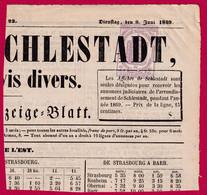 TIMBRE POUR JOURNAUX N°7 ANNULATION TYPO SELESTAT BAS RHIN 1869 - Periódicos