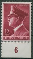 Deutsches Reich 1942 Geb. Hitler Waag. Gummiriffelung 813 Y Unterrand Postfrisch - Neufs