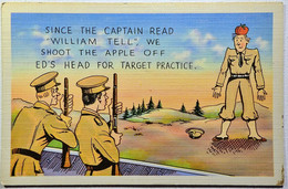 WW2 Linen Comic  #AC-11 We Shoot The Apple Off His Head For Target Practice Posted 1942 VG - Comics