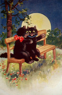 Cpa  Illustrateur CHATS AMOUREUX . PLEINE LUNE .CHAT NOIR . DRESSED CAT BLACK CATS FULL MOON LOVERS  OLD PC - Cats