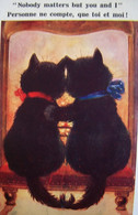Cpa  Illustrateur CHATS AMOUREUX .  .CHAT NOIR . DRESSED CAT BLACK CATS  LOVERS  OLD PC - Cats