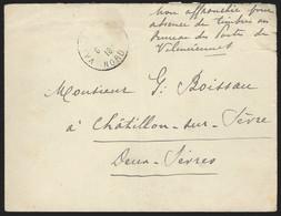 """L """"non Affranchie Pour Absence De Timbres Au Bureau De Poste De Valenciennes"""" + Càd VALENCIENNES/1918 Pour Châtillon - Civil Frank Covers"""