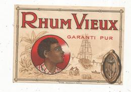 étiquette , Alcool , RHUM VIEUX , Garanti Pur , N° 245 Mantiaux - Rhum