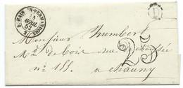 MARQUE POSTALE BOHAIN EN VERMANDOIS AISNE POUR CHAUNY / 1852 / TAXE 25 / LSC / BOITE RURALE D - 1849-1876: Klassik