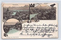 THUN (BE) Litho - Alpenansicht - Ansicht Gegen Dis Stadt - Verlag Schlumpf - BE Berne