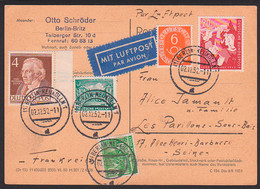 Berlin-Neukölln Luftpost-Auslandskarte Mit 20 Pfg. Jugendmarke 1952, BRD 154, 6 Pfg. Ziffer, 45 Pfg. Porto - Lettres & Documents