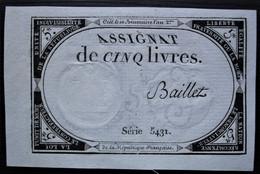 Assignat De 5 Livres Signé Baillet Série 5431, Très Bel état, Voir Photo ! - Assignats