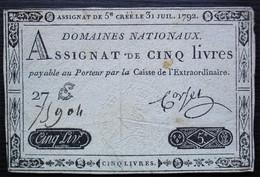 Assignat De 5 Livres Domaines Nationaux 27 75904 31 Juillet 1792 Voir Photo ! - Assignats