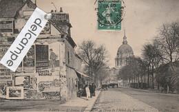 PARIS 7éme : Avenue Lowendal Et Le Dome De L'Hotel Des Invalides,mur De Publicités,animée. - Arrondissement: 07