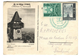 ESPERANTO Austria Österreich 1949 Postmark Esperanto Congress On Postal Stationery With GRAZ Picture EL LA BELA STIRIO - Esperanto