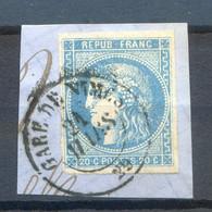 BORDEAUX N° 46B 4 Marges Importantes Et Pas De Clair.....TTB.......sur Fragment Cachet GARE DE NIMES - 1870 Emissione Di Bordeaux