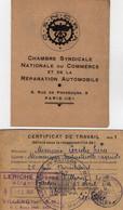 VP18.209 - PARIS X MEAUX 1943 / 46 - Carte Syndicale De La C.S.N.C.R.A. Et Certificat De Travail LERICHE De VILLENOY - Collections