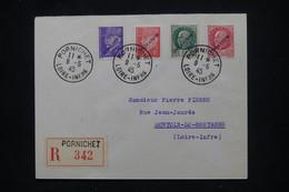 FRANCE - Pétain Avec Surcharge Libération Sur Enveloppe En Reco. De Pornichet En 1945 ( Poche De St Nazaire) - L 106084 - Liberation