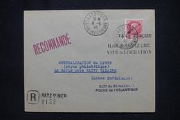 FRANCE - Pétain Avec Surcharge Libération Sur Enveloppe En Reco. De Batz/Mer En 1945 ( Poche De St Nazaire) - L 106085 - Liberation