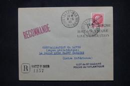 FRANCE - Pétain Avec Surcharge Libération Sur Enveloppe En Reco. De Batz/Mer En 1945 ( Poche De St Nazaire) - L 106087 - Liberation