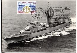 Revue Navale Toulon 1976 Président Giscard - Carte Frégate Duguay-Trouin - Flamme Avec Porte-avions - Seepost
