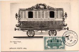 Ambulants Sud-ouest Direction 1944 - Carte Maxi Avec Wagon Postal - Poste Ferroviaire - Bahnpost