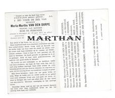 DOODSPRENTJE VAN DEN DORPE MARIA WEDUWE DE PESSEMIER WORTEGEM 1877 - 1963 - Devotion Images