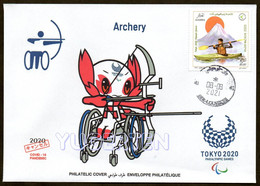 ARGELIA 2021 - Philatelic Cover Archery Paralympics Tokyo 2020 Disabled Behinderte Discapacitado Paralympische COVID - Tiro Con L'Arco