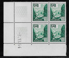 Maroc N°333 - Bloc De 4 Coin Daté - Neuf ** Sans Charnière - TB - Marocco (1956-...)