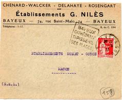 ARCHITECTURE = 14 BAYEUX 1933 = FLAMME  DAGUIN   ' Cathédrale Tapisserie Plages ' + Ets NILES / ROSENGART DELAHAYE - Mechanical Postmarks (Other)