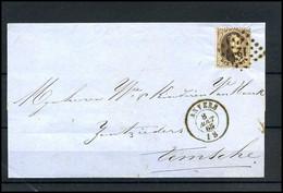 Brief Uit 1865 Van Anvers Naar Temsche, Met No 14 - 1863-1864 Medaillen (13/16)