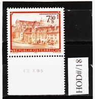 HOD#/18 ÖSTERREICH 1986 STIFTE Und KLÖSTER Michl 1863 ANK 1894 Mit DRUCKDATUM  ** Postfrisch SIEHE ABBILDUNG - 1981-90 Neufs