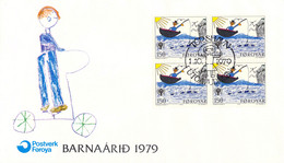 Faroe Islands FDC 1979 International Year Of Children - Block Of Four (DD29-48) - Islas Feroe