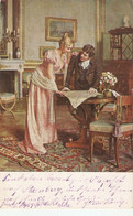 "E. Brack. Couple. Before The Wedding Journey"" Fine Painting, Vintage German Postcard - Couples"