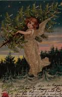 Belle Illustrée Gaufrée Et Pailletée  : Petit Ange Au Sapin . MAGNIFIQUE - Angels