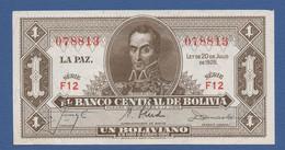 BOLIVIA - P.128a(8) – 1 BolivianoL.20.07.1928 XF Serie F12 078813 - Bolivia