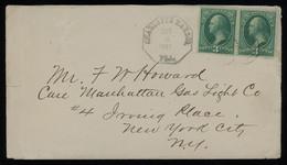 TREASURE HUNT [01807] US 1881 Cover Sent To New York Franked With Washington 3c Green Pair, Bearing Charlotte Harbor Pmk - Storia Postale