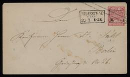 TREASURE HUNT [01815] North German Confederation 1870s 1 Gr Postal Cover From Biesenthal To Berlin, Framed Pmk. On Front - Norddeutscher Postbezirk