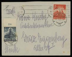 TREASURE HUNT [01827] Germany 1940s Cover From Vienna To Graz Bearing Winter Help 8+4 Pf + 4+3 Pf, Sheet Margin+imprint - Storia Postale